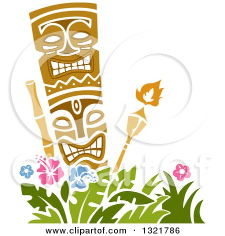 Clipart of a Tiki Statue and Torches over Hibiscus Flowers - Royalty Free Vector Illustration by BNP Design Studio