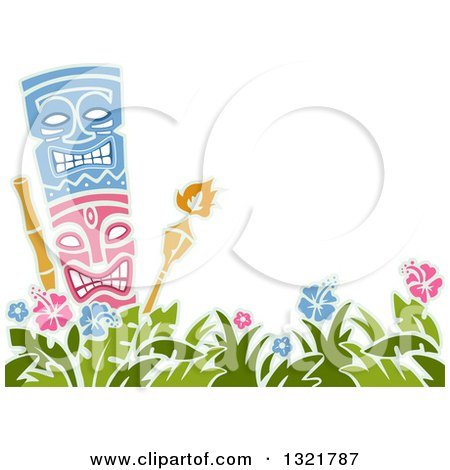 Clipart of a Tiki Statue and Torches over Hibiscus Flowers with Text Space - Royalty Free Vector Illustration by BNP Design Studio