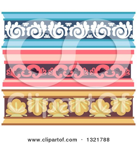 Clipart of Blue Pink and Yellow Ornate Cornice Borders - Royalty Free Vector Illustration by BNP Design Studio