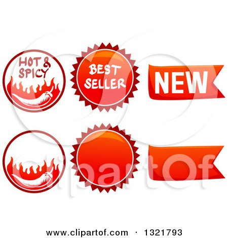 Clipart of Spicy Food Labels - Royalty Free Vector Illustration by BNP Design Studio