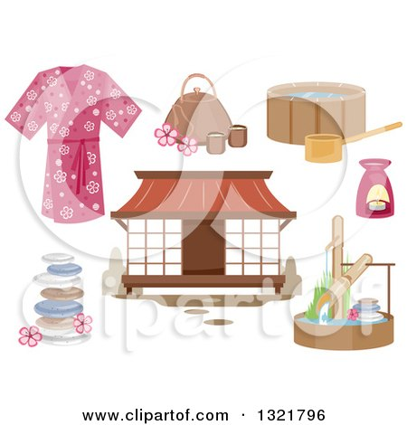 Clipart of Japanese Spa Design Elements - Royalty Free Vector Illustration by BNP Design Studio
