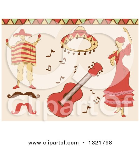 Clipart of Sketched Mexican Dancer, Man, Hat, Guitar and Mustache - Royalty Free Vector Illustration by BNP Design Studio