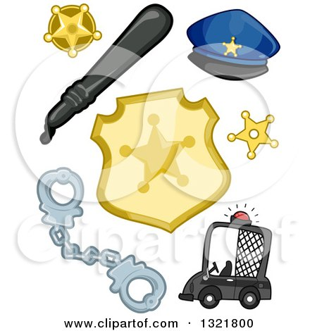 Clipart of a Police Car, Handcuffs, Badges, Baton, and Hat - Royalty Free Vector Illustration by BNP Design Studio