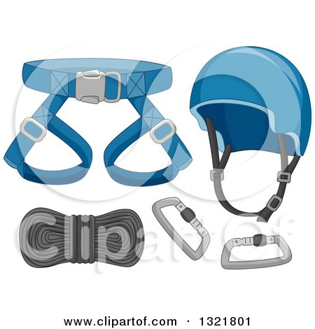 Clipart of Safety Gear for Mountain Climbing - Royalty Free Vector Illustration by BNP Design Studio