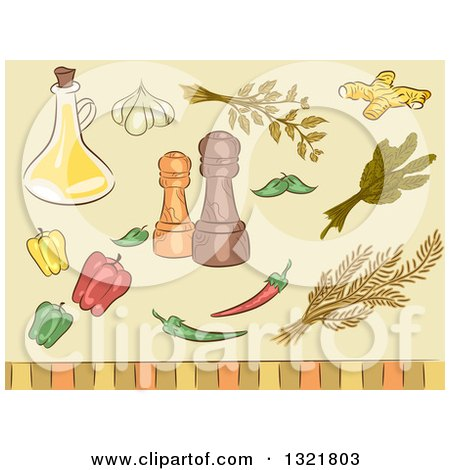 Clipart of Sketched Spice Herbs, Peppers, Seasonings and Oil - Royalty Free Vector Illustration by BNP Design Studio