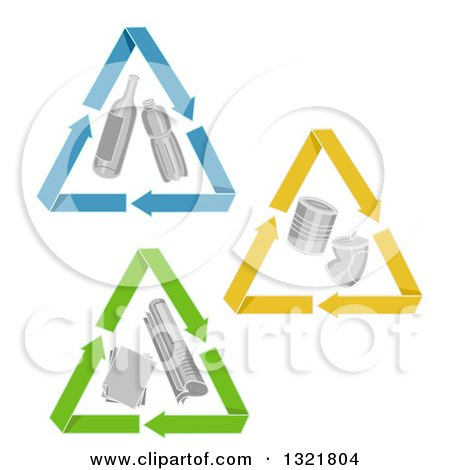 Clipart of Triangle Recycle Arrows Around Glass, Plastic, Cnas and Paper - Royalty Free Vector Illustration by BNP Design Studio