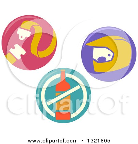 Round Buckle Up, No Drinking and Driving and Safety Icons Posters, Art Prints