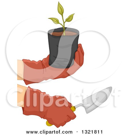 Clipart of Gloved Gardener Hands Holding a Sapling Plant and Spade - Royalty Free Vector Illustration by BNP Design Studio