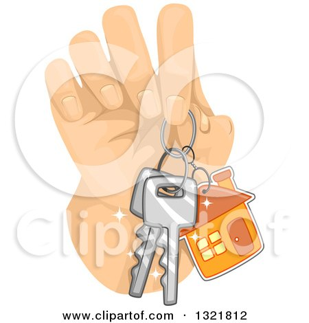 Clipart of a Hand Holding House Keys - Royalty Free Vector Illustration by BNP Design Studio