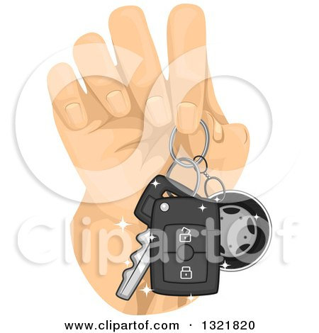 Clipart of a Hand Holding Car Keys - Royalty Free Vector Illustration by BNP Design Studio