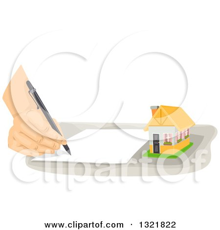 Clipart of a Hand Writing a Note by a Tiny House - Royalty Free Vector Illustration by BNP Design Studio