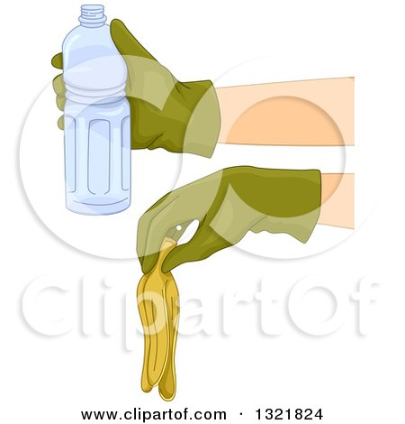 Clipart of Gloved Hands Holding a Banana Peel and Water Bottle - Royalty Free Vector Illustration by BNP Design Studio