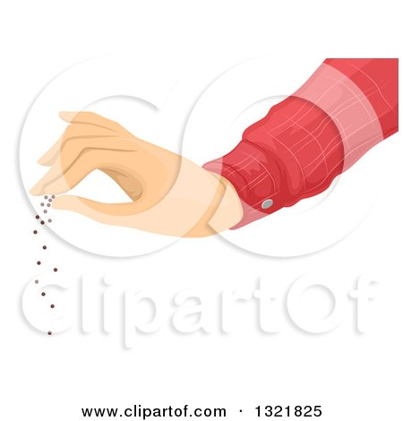 Clipart of a Hand Spreading Seeds - Royalty Free Vector Illustration by BNP Design Studio