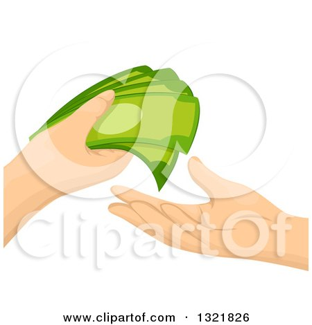 Clipart of Hands Exchanging Cash Money - Royalty Free Vector Illustration by BNP Design Studio
