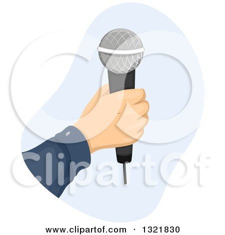 Clipart of a Hand Holding a Wireless Microphone - Royalty Free Vector Illustration by BNP Design Studio