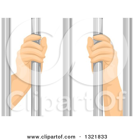 Clipart of Prisoner Hands Grasping Bars - Royalty Free Vector Illustration by BNP Design Studio