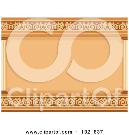 Clipart of a Brown and Yellow Ornate Architectural Cornice Background - Royalty Free Vector Illustration by BNP Design Studio