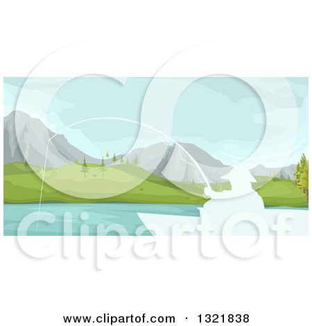 Clipart of a White Silhouetted Man Fishing from a Boate on a Mountainous Lake - Royalty Free Vector Illustration by BNP Design Studio