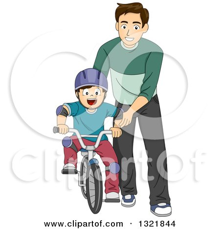 Clipart of a Brunette White Male Father Teaching His Son How to Ride a Bike - Royalty Free Vector Illustration by BNP Design Studio