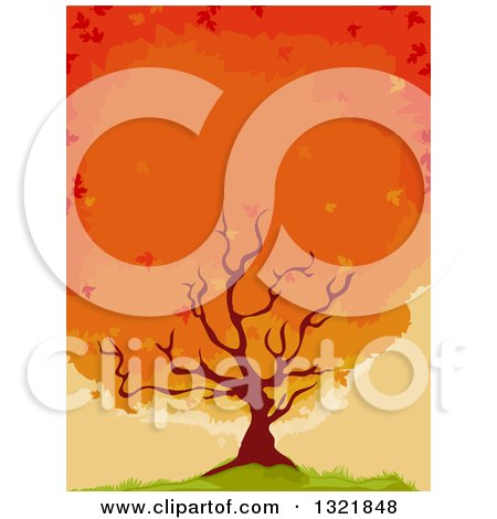 Clipart of a Flaming Maple Tree on a Hill - Royalty Free Vector Illustration by BNP Design Studio