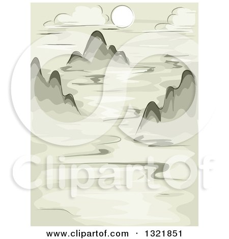 Clipart of a Painted Background of Mountain Peaks Above Clouds - Royalty Free Vector Illustration by BNP Design Studio