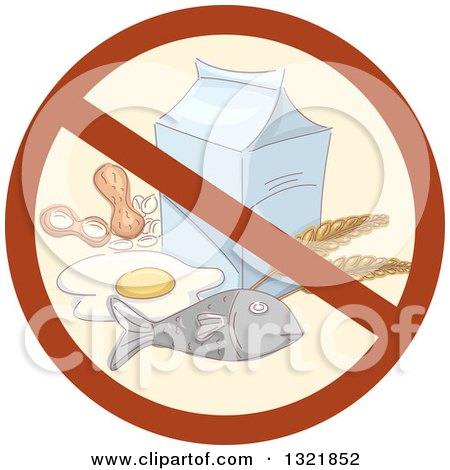 Clipart of a Prohibited Food Allergy Symbol over Fish, Wheat, Eggs, Peanuts and Milk - Royalty Free Vector Illustration by BNP Design Studio