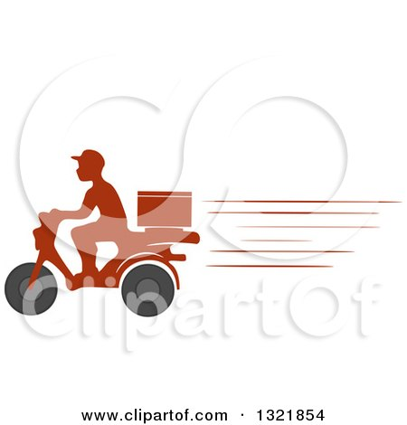Clipart of a Fast Silhouetted Food Delivery Man on a Motorcycle - Royalty Free Vector Illustration by BNP Design Studio