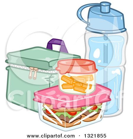 Clipart of a Lunch Box, Food and Water Bottle - Royalty Free Vector Illustration by BNP Design Studio