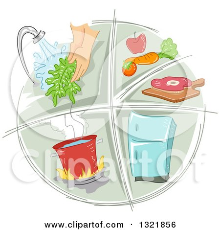 Clipart of a Sketched Food Preparation and Sanitation Icon - Royalty Free Vector Illustration by BNP Design Studio