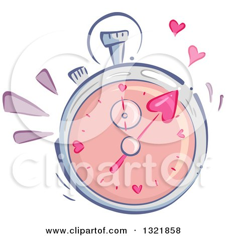 Clipart of a Speed Dating Stop Watch with Hearts - Royalty Free Vector Illustration by BNP Design Studio