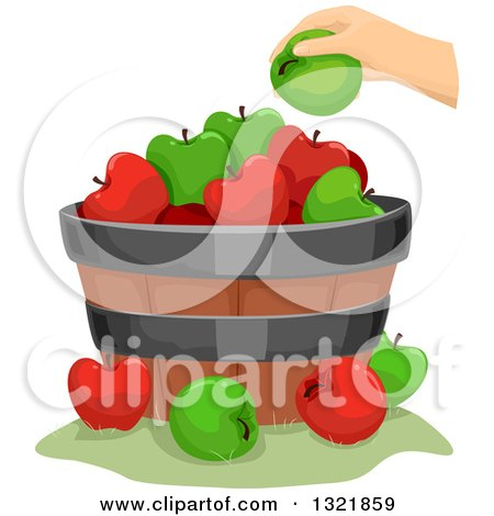 Clipart of a Hand Putting a Green Apple on a Barrel - Royalty Free Vector Illustration by BNP Design Studio