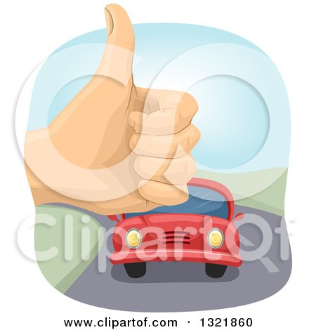Clipart of a Hithchiker Hand Holding up a Thumb and an Aproaching Car - Royalty Free Vector Illustration by BNP Design Studio