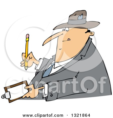 Clipart of a Cartoon Chubby White Man Writing on a Clipboard - Royalty Free Vector Illustration by djart