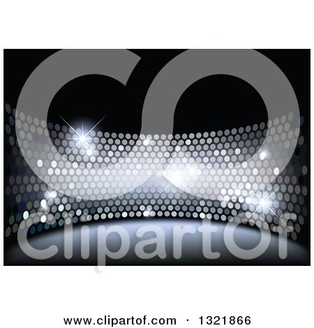 Clipart of a Disco Themed Background of Sparkly Lights on Black - Royalty Free Vector Illustration by dero