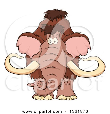 Clipart of a Cartoon Woolly Mammoth - Royalty Free Vector Illustration by Hit Toon