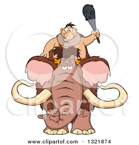 Clipart of a Cartoon Caveman Holding up a Club and Riding a Woolly Mammoth - Royalty Free Vector Illustration by Hit Toon