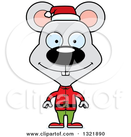 Clipart of a Cartoon Happy Mouse Christmas Elf - Royalty Free Vector Illustration by Cory Thoman