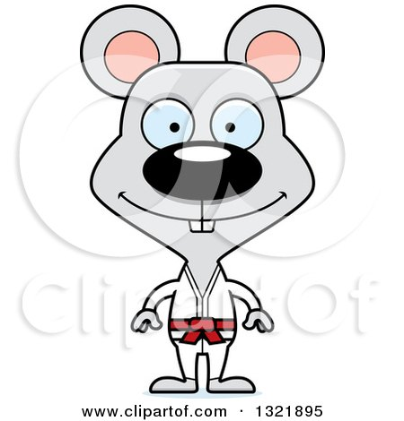 Clipart of a Cartoon Happy Karate Mouse - Royalty Free Vector Illustration by Cory Thoman