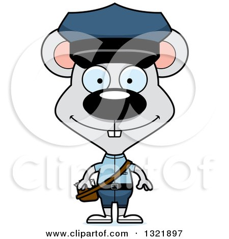 Clipart of a Cartoon Happy Mouse Mail Man - Royalty Free Vector Illustration by Cory Thoman