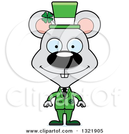 Clipart of a Cartoon Happy St Patricks Day Irish Mouse - Royalty Free Vector Illustration by Cory Thoman