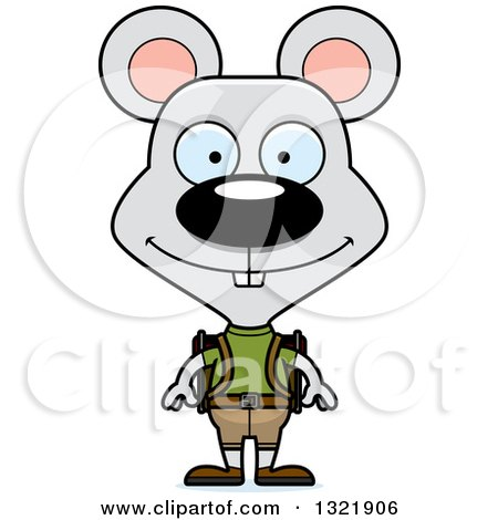 Clipart of a Cartoon Happy Mouse Hiker - Royalty Free Vector Illustration by Cory Thoman