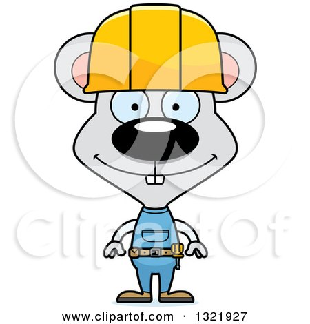 Cartoon Happy Mouse Construction Worker Posters, Art Prints