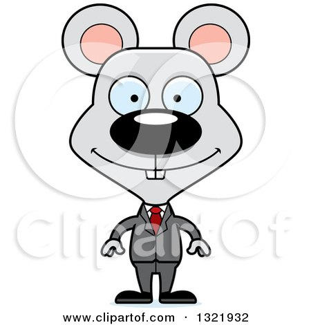 Clipart of a Cartoon Happy Mouse Business Man - Royalty Free Vector Illustration by Cory Thoman