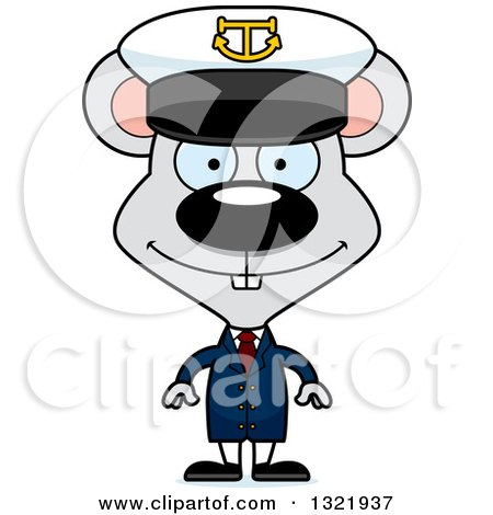 Clipart of a Cartoon Happy Mouse Captain - Royalty Free Vector Illustration by Cory Thoman