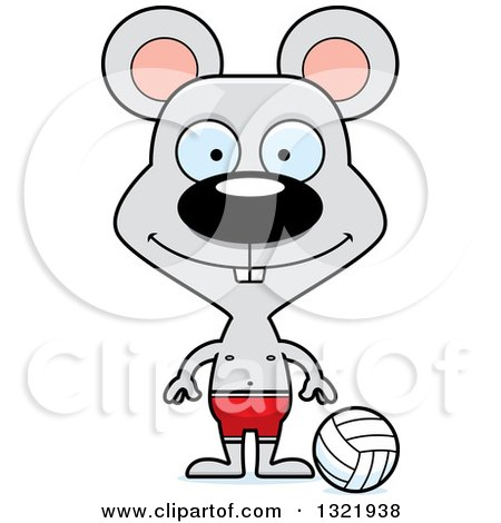 Clipart of a Cartoon Happy Mouse Beach Volleyball Player - Royalty Free Vector Illustration by Cory Thoman