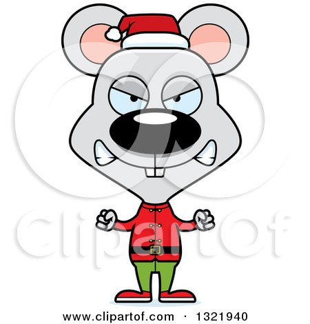Clipart of a Cartoon Mad Mouse Christmas Elf - Royalty Free Vector Illustration by Cory Thoman