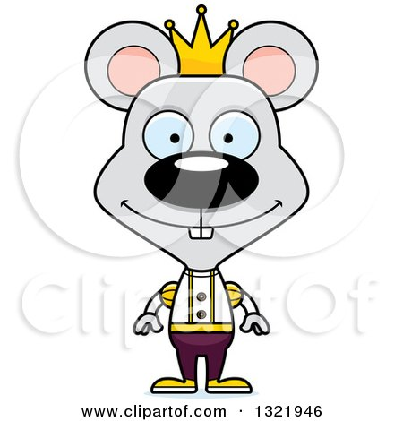 Clipart of a Cartoon Happy Mouse Prince - Royalty Free Vector Illustration by Cory Thoman