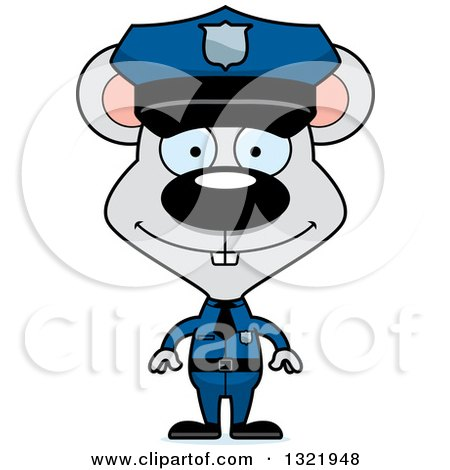 Clipart of a Cartoon Happy Mouse Police Officer - Royalty Free Vector Illustration by Cory Thoman