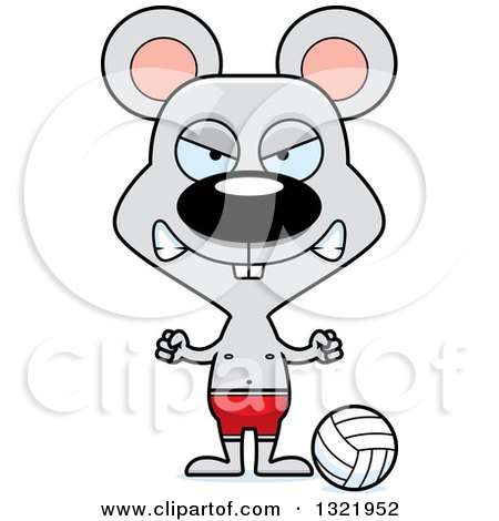 Clipart of a Cartoon Mad Mouse Beach Volleyball Player - Royalty Free Vector Illustration by Cory Thoman