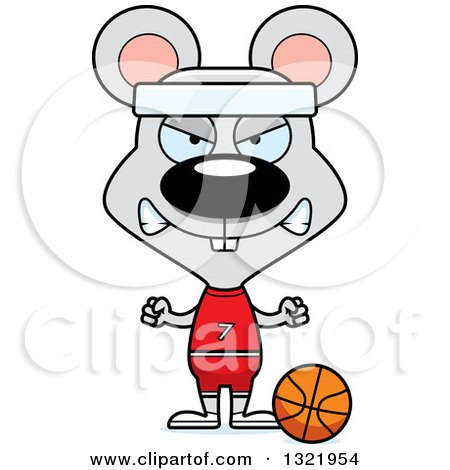 Clipart of a Cartoon Mad Mouse Basketball Player - Royalty Free Vector Illustration by Cory Thoman